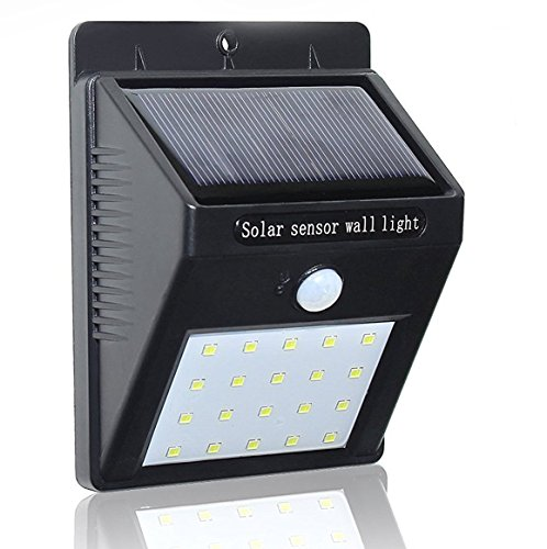 Lexton LED Outdoor Motion Sensor Solar Lights Wide Angle Design and Lighting for Wall, Patio, Garden, Landscape, Deck, Shed, Lawn