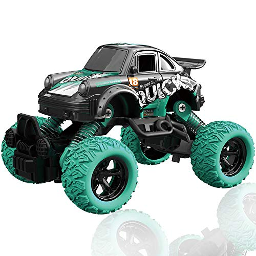 CORPER TOYS Pull Back 4WD Off Road Vehicle 1:36 Scale Pull Back Rock Crawler Monster Truck High Speed Racing Car for Kids Children (Green)