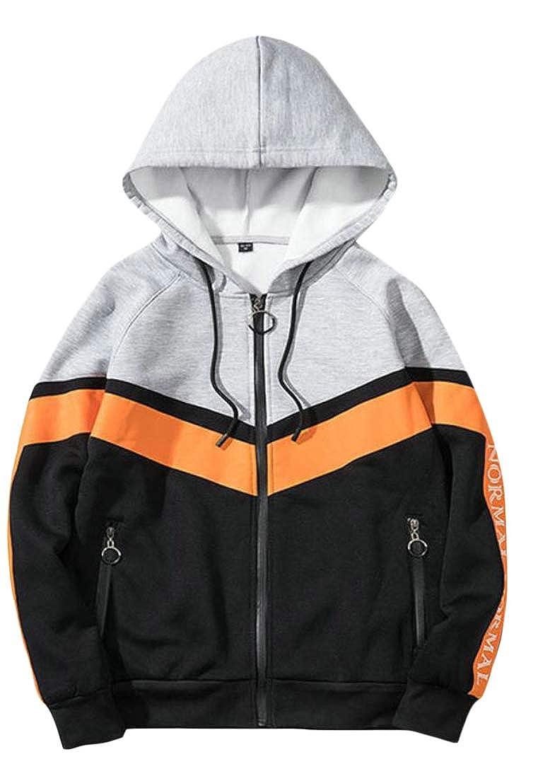 Pandapang Mens Color Block Zip Classic Hooded Jacket Long Sleeve Sweatshirts