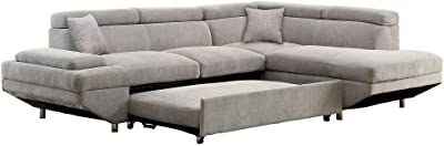 Amazon Com Poundex 2 Pieces Faux Leather Sectional Right