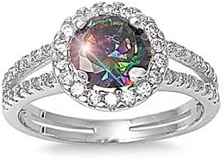 ALL NATURAL GENUINE GEMSTONE- 6mm 1.15ctw Sterling Silver Solitaire MYSTIC FIRE RAINBOW TOPAZ ROUND BIRTHSTONE Channel Band Pave Cz Accents Ring 5-10