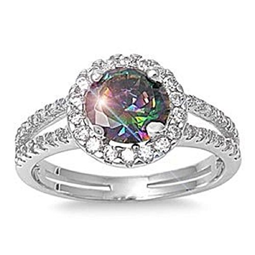 ALL NATURAL GENUINE GEMSTONE- 6mm 1.15ctw Sterling Silver Solitaire MYSTIC FIRE RAINBOW TOPAZ ROUND BIRTHSTONE Channel Band Pave Cz Accents Ring 5-10 (7)
