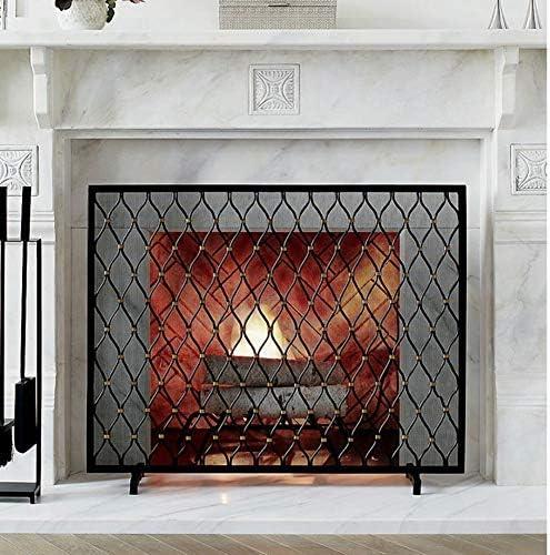 暖炉スクリーン 金属暖炉スクリーン赤ちゃんの安全と噛み合うカバー、オープン火災/ウッドバーナー/ガス火災の場合ブラックシングルPanle火災ガード画面