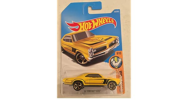 Amazon.com: 2017 Hot Wheels 67 Pontiac GTO (HTF Yellow w/Black Stripes): Toys & Games