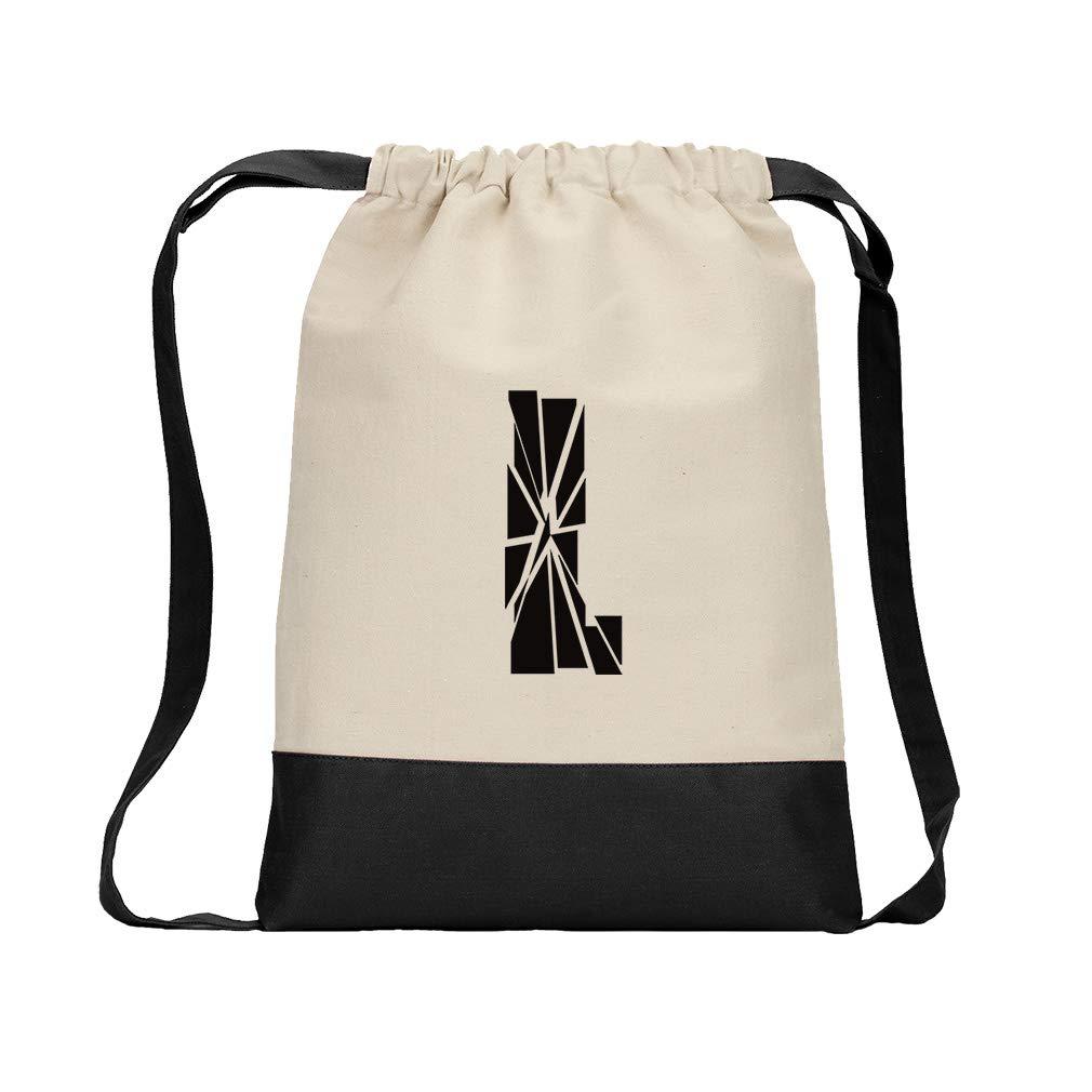 ''L'' Glass Initial Monogram Letter L Cotton Canvas Color Drawstring Bag Backpack - Black