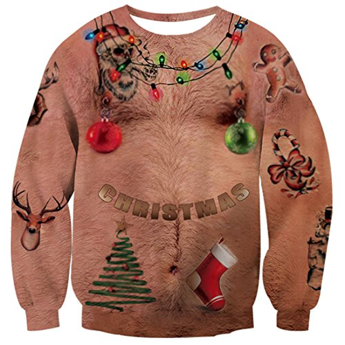 Men Ugly Christmas Sweater - uideazone Men Women Printed Ugly Christmas Chest Hair T Shirt Funny X-mas Party Graphic Tee Clothes Plus Size