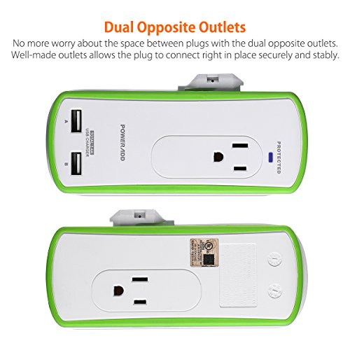 Poweradd 2-Outlet Mini Portable Travel Surge Protector with Dual 3.4A Smart USB Ports, Wrapped Cord Design - UL Listed by POWERADD (Image #1)