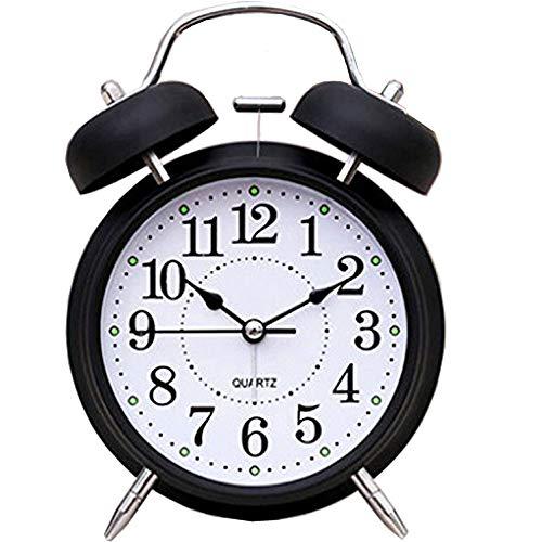 FirstDecor 6 Retro Vintage Alarm Clocks Two Bells European Retro Wood Color 3D Stereo Table Clocks Desktop Clock Home Decoration Desk Clock Nightlight Loud Alarm