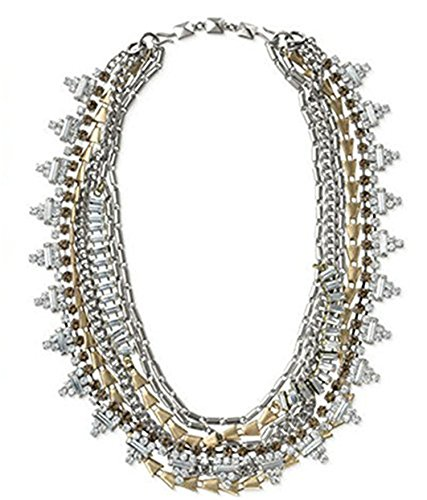 Dot & Line multi layered gold silver crystal statement necklace