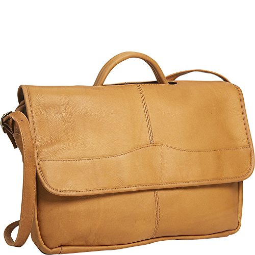 David King Leather Porthole Briefcase in Tan (David Distressed Leather King)