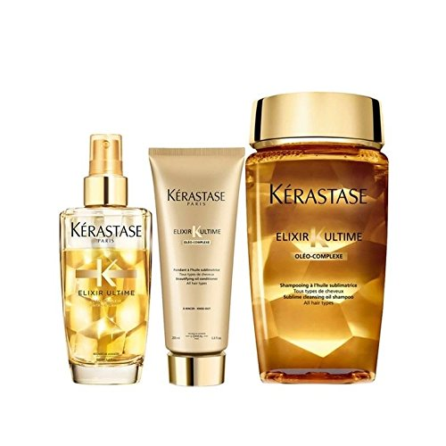 - Kérastase Elixir Ultime Huile Lavante Bain 250ml, Elixir Ultime Fondant Conditioner 200ml And Fine Hair Oil 100ml Bundle