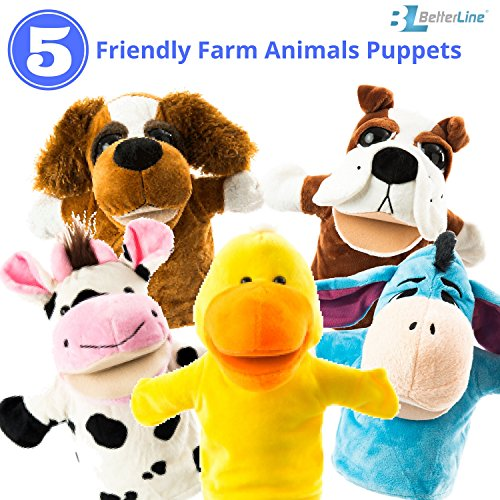 "Hand Puppet Childrens Toy (Animal Hand Puppets 5-Piece Set - Premium Quality with Movable Open Mouths, 9.5"" Soft Plush Hand Puppets For Kids- Perfect For Storytelling, Teaching, Preschool - by Better Line (Farm Animals))"