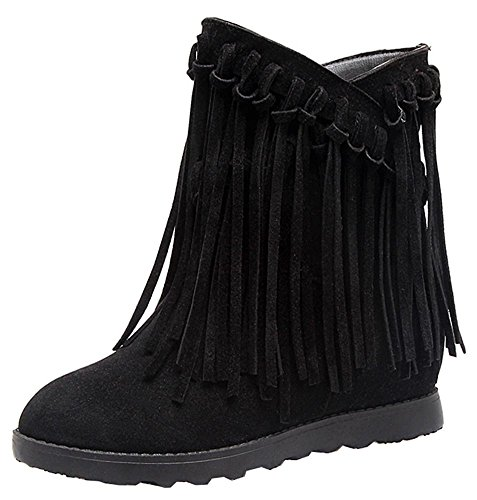 Easemax Women's Retro Fringe Round Toe Pull On Low Wedge Heels Inside Ankle High Booties Black 5KO6X