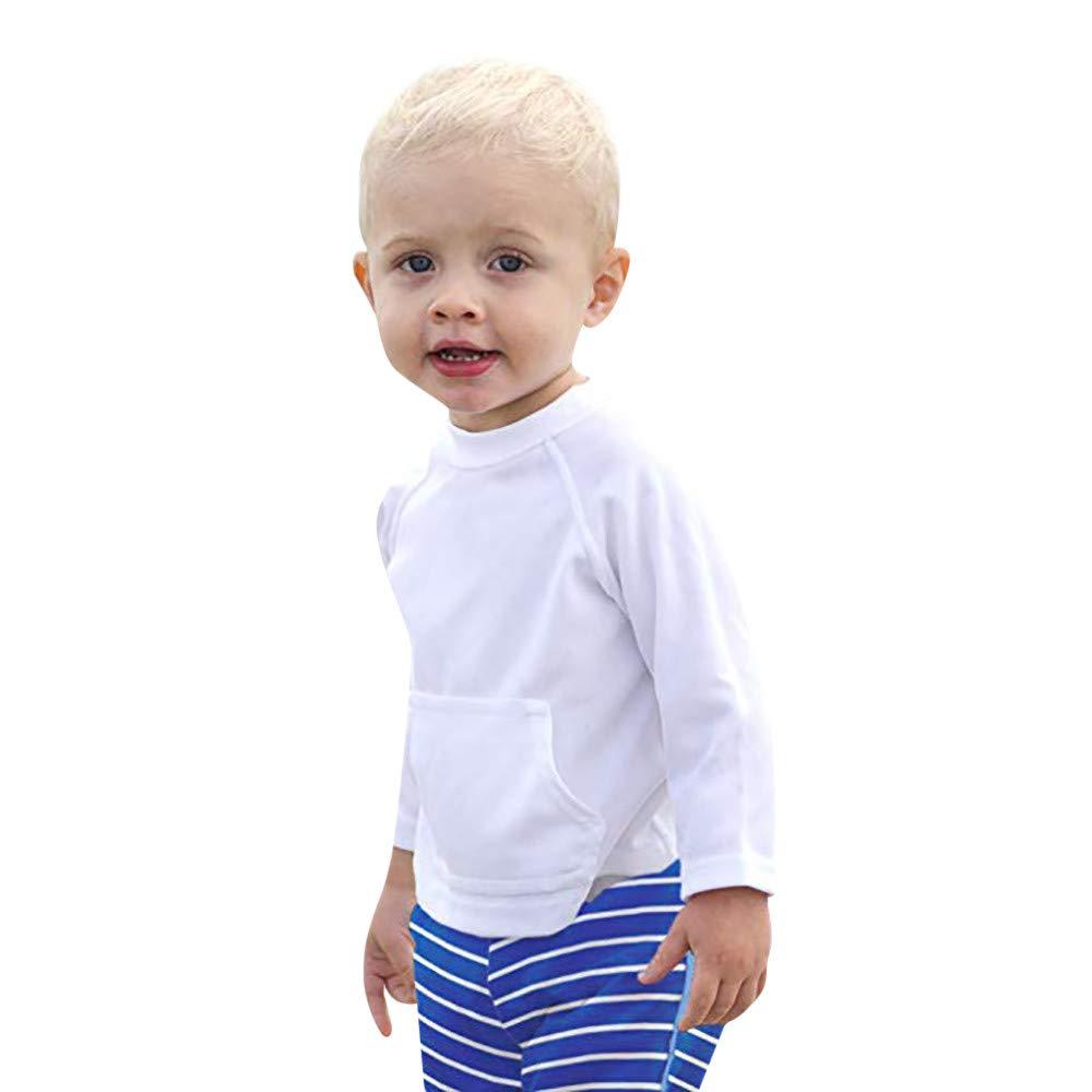 beautyjourney Niñ os Niñ as Jersey de Manga Larga con Cuello Redondo Camisa de Entrenamiento Protector Solar Unisexo Mono Color só lido Ropa de bebé