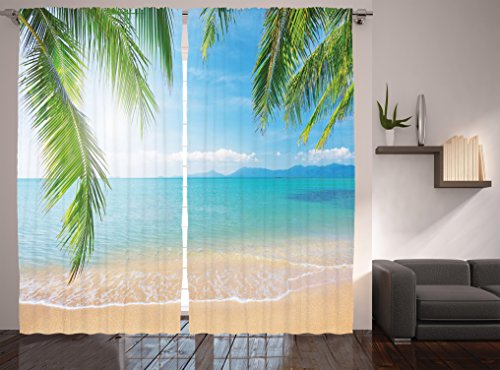 Cheap Ambesonne Modern Curtains Tropical Decor by, Surf Tourism and Thailand Relaxation Holiday Photos Print, Window Treatments, Living Kids Girls Room Curtain 2 Panels Set, 108 X 84 Inches, Turquoise Ecru