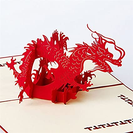 Amazon Hunger Handmade 3d Pop Up Chinese Dragon Birthday Cards