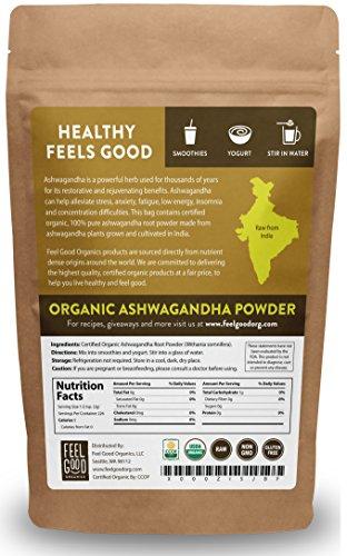 Organic Ashwagandha Root Powder - 16oz Resealable Bag (1lb) - 100% Raw From India - by Feel Good Organics by Feel Good Organics (Image #1)