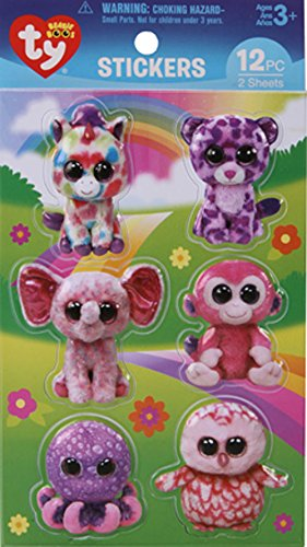12 Per Pack Darice Bundle 24 Ty Beanie Boo Puffy 3D Stickers for Kids Bundle with 2 Packages of Stickers