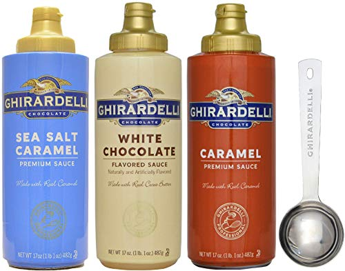 - Ghirardelli - Sea Salt Caramel, White Chocolate and Caramel Flavored Sauce (Set of 3) - with Limited Edition Measuring Spoon