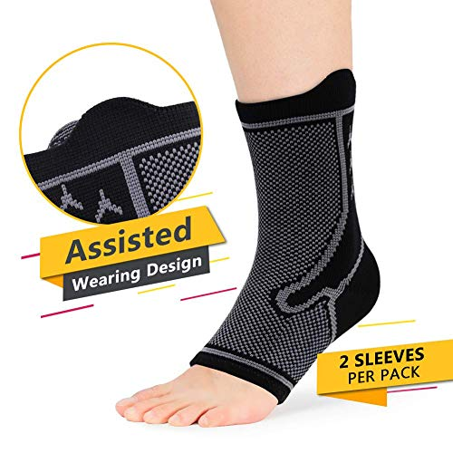 Plantar Fasciitis Support Ankle Brace for Men and Women, Sprained Ankles Compression Socks Sleeves Womens and Mens for Running, Heel Spurs, Achilles Tendon with Arch Supports Relief Pain, M