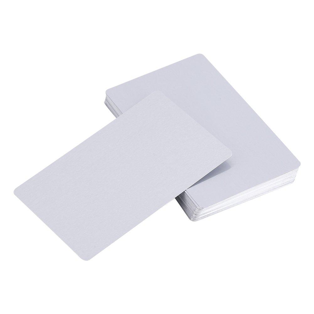 Cartes De Visite de Métal 50 Pcs Laser Gravé En Alliage D'aluminium Épaisseur pour Client Cadeau BRICOLAGE Cartes 5 Couleurs (optionnel) (Gris) Zerodis