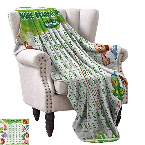 WinfreyDecor Word Search Puzzle Home Throw Blanket Educational Game for Kids Children Cute Sweet Animals Worksheet Print Traveling,Hiking,Camping,Full Queen,TV,Cabin 60