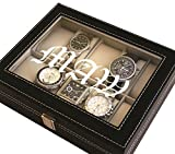 Personalized Black Watch Storage Box - Groomsman Wedding Father's Day Gift - Custom Engraved Monogram