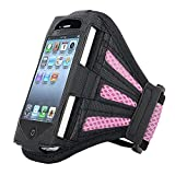 Insten Deluxe Armband Compatible with Apple iPhone 4 - Version iPhone 4S - ATT - Retail Packaging - Black/Light Pink