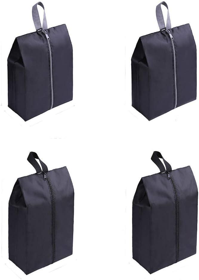 GreEco Travel Shoe Bags Set of 4 Waterproof Nylon With Zipper For Men & Women (Black)