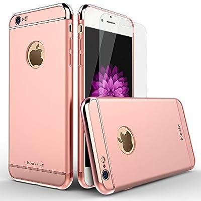 iPhone6sCase,bonsalay:emoji:3in1Ultra-ThinandSlimDesignCoatedPremiumNonSlipSurfaceShockproofElectroplateMetalTexture&SkinTemperedGlassScreenProtectorforAppleiphone6s