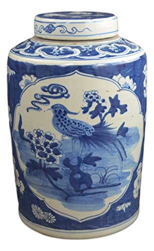 15'' Antique Finish Blue and White Porcelain Bird and Flowers Ceramic Covered Jar Vase, China Ming Style, Jingdezhen (L10) by Festcool