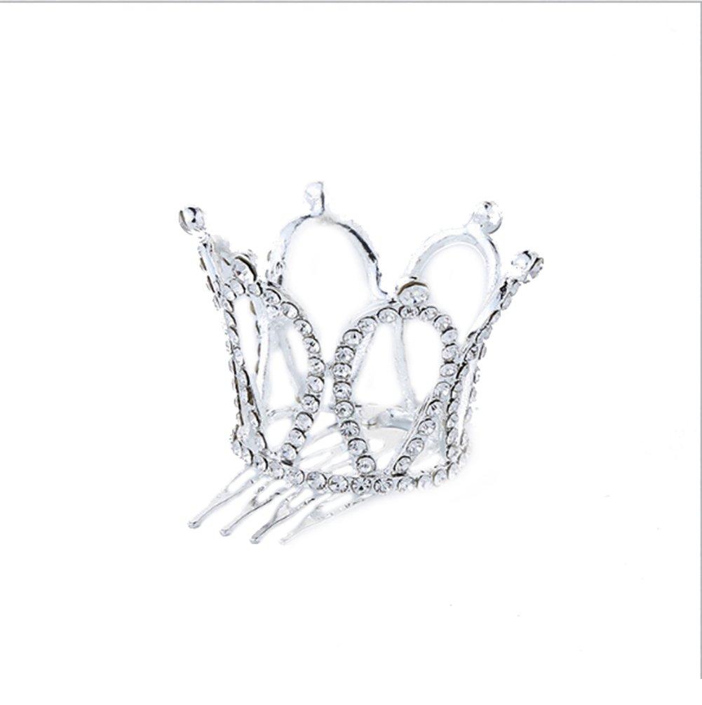 YOUBETTER Small Girl Crown Tiara Combs Clear Stone Crystal Mini Tiara Hair Accessories Jewelry
