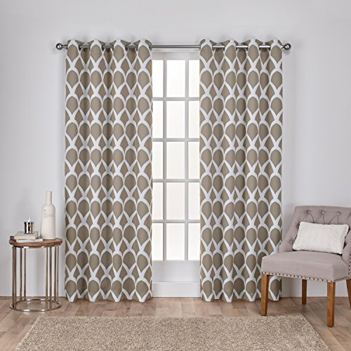 Exclusive Home Durango Geometric Printed Woven Sateen Window Curtain Panel Pair with Grommet Top, 52x96, Taupe, 2 Piece