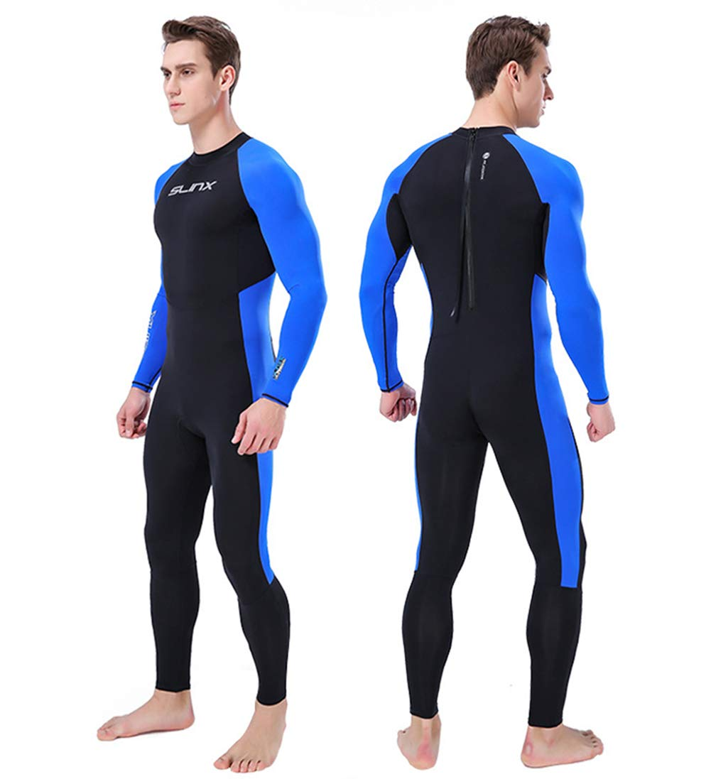 DiNeop ダイブスキン 長袖 フルボディ ライクラ ウェットスーツ スキューバ ラッシュガード レディース メンズ ワンピース スポーツ ダイビング 水着 UV保護 サーフィン シュノーケリング 水泳 セーリング カヤック B07GZLSFWL ブルー Medium Medium|ブルー