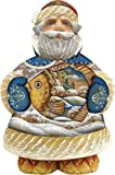 G. Debrekht Into the Village Sant a Figurine with Fish, 5-Inch Tall, Limited Edition of 600, Hand-Painted by G. Debrekht