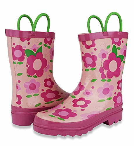 Pictures of Little Girl's Pink Flower Rain Boots Sizes 11/12 10.5 M US Little Kid 6