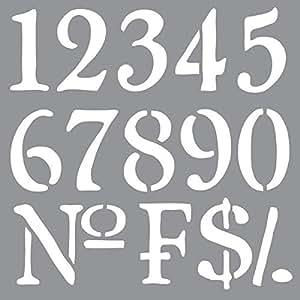 Deco Art Americana Decor Stencil, Old World Numbers