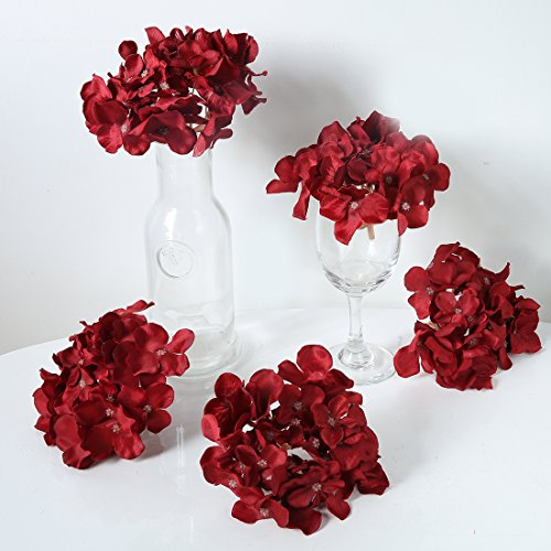 Wedding Flowers Christmas - Veryhome Blooming Silk Hydrangea Flower Heads for DIY Bouquets,Wedding Centerpieces,Home Decor (red),12pcs