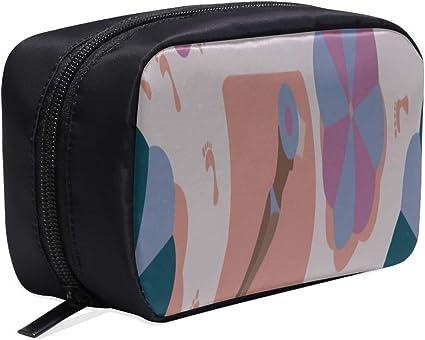 Bolsa de viaje cosmética pequeña Zapatillas de playa hermosas y coloridas Bolsas de viaje para niños Mujeres Bolsas de moda Bolsas de cosméticos con cremallera Bolsas de cosméticos Bolsa de fundas mu: