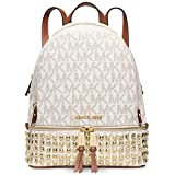 MICHAEL Michael Kors Rhea Zip Small Studded Backpack Signature Vanilla