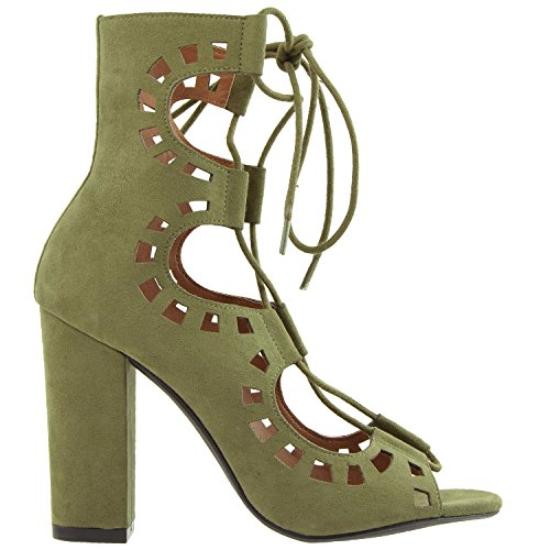 Generation Y Womens Boots Lace Up Ghillie Cutout High Heel Ankle Booties GY-WB-ANKLE41 Olive edakxE