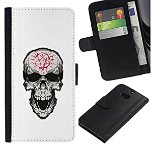 LECELL--Cuero de la tarjeta la carpeta del tirón Smartphone Slots Protección Holder For HTC One M8 -- Pentagram Evil Goth Cráneo --