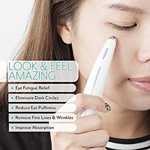 INNOKA Heated Sonic Vibration Eye Massager Facial Roller Skincare Device with Touch Activation Smart Sensor for Anti-Aging, Anti-Wrinkle, Reducing Eyes Puffiness, Dark Circles - Battery Operated