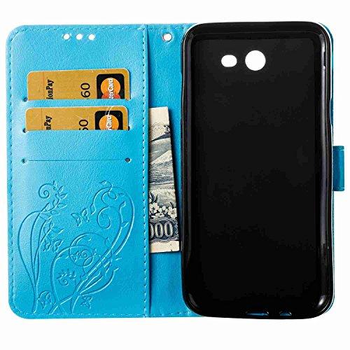 Funda Samsung Galaxy J5 2017 / J520, 5.2 pulgadas, Cáscara Samsung Galaxy J5 2017 / J520, Alfort Casco de Protección Relieve Carcasa PU Cierre Magnético Carcasa del teléfono con una función de Soporte Azul