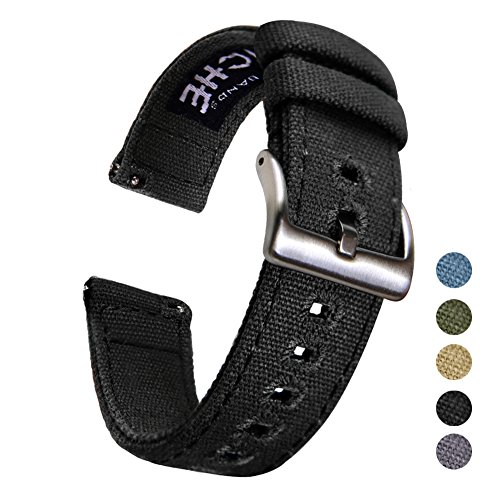 18mm Canvas Quick Release Watch Band Black Replacement Watch Straps for Men ()