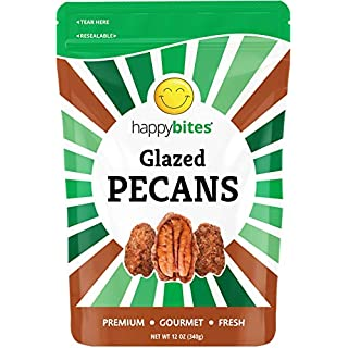 Happy Bites Glazed Pecans - All Natural Candied Pecans - Gourmet - Resealable Pouch Bag (12 oz)