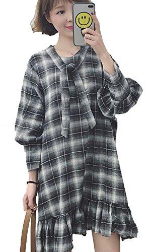 ベーコン引き出す行動(ニカ)レディース ワンピース ロングシャツ レディース 長袖 ストライプシャツ 荷葉の裾 ゆるシャツ 無地 ワンサイズ カジュアル シャツ
