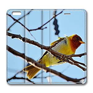 iPhone 6 Leather Case, Personalized Protective Flip Case Cover Yellow Bird for New iPhone 6