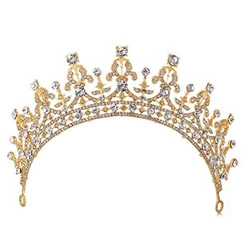 SNOWH Wedding Crown for Women, Rhinestone Princess Birthday Tiara Royal Bridal Headpieces Pageant CZ Crystal Hair Accessories Gold