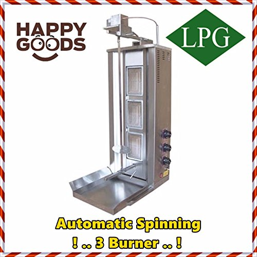 Gas Machine Gyro (Meat Capacity 35 kg / 77 lbs. PROPANE GAS Spinning Grills Vertical Broiler AUTOMATIC ROTATION Top Motor Shawarma Gyro Doner Kebab Tacos Al Pastor Grill Machine 3 Burner Rotisserie)
